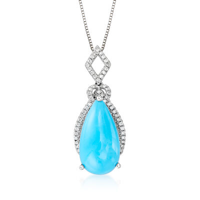 Turquoise and .17 ct. t.w. Diamond Pendant Necklace in 14kt White Gold