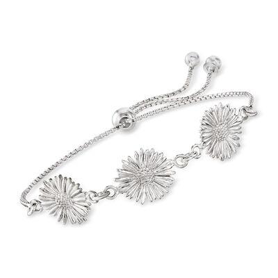 Italian Sterling Silver Sunflower Bolo Bracelet