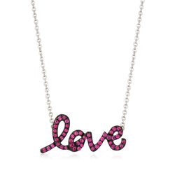 """.70 ct. t.w. Pink Sapphire """"Love"""" Necklace in Sterling Silver , , default"""