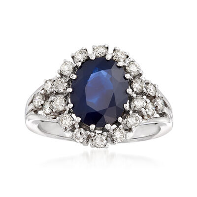3.00 Carat Sapphire and .70 ct. t.w. Diamond Ring in 14kt White Gold