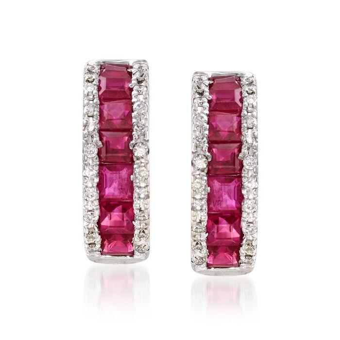 "1.50 ct. t.w. Ruby and .30 ct. t.w. Diamond Huggie Hoop Earrings in 14kt White Gold. 1/2"""
