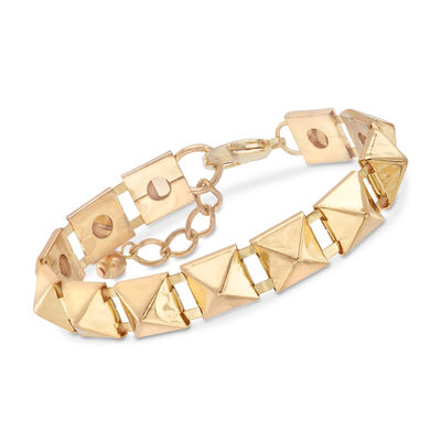 12mm Pyramid-Shaped Bracelet in Gold-Tone Metal, , default