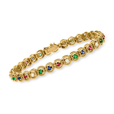 C. 1990 Vintage 2.20 ct. t.w. Multi-Gem and .45 ct. t.w. Diamond Bracelet in 18kt Yellow Gold