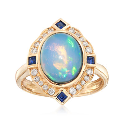 Ethiopian Opal and .41 ct. t.w. Multi-Stone Ring in 14kt Gold, , default