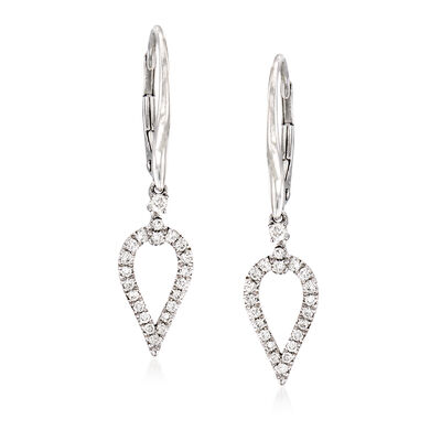 Gabriel Designs .27 ct. t.w. Diamond Open Teardrop Earrings in 14kt White Gold, , default