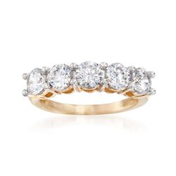 3.00 ct. t.w. CZ Five-Stone Ring in 14kt Yellow Gold, , default