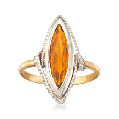 C. 1970 Vintage Yellow Glass Marquise Ring in 18kt Two-Tone Gold, , default