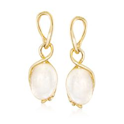 Moonstone Twisted Drop Earrings in 18kt Gold Over Sterling, , default