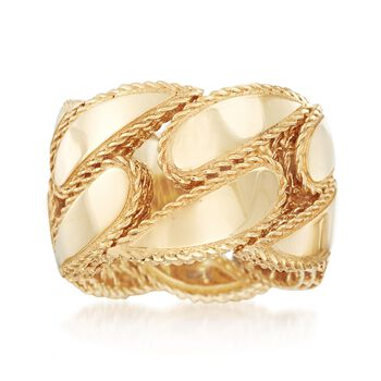 """Roberto Coin """"Gourmette"""" 18kt Yellow Gold Ring. Size 6.5, , default"""