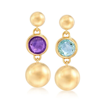 Italian Andiamo 4.20 Carat Topaz and 1.60 Carat Amethyst Mismatched Earrings in 14kt Gold Over Resin, , default