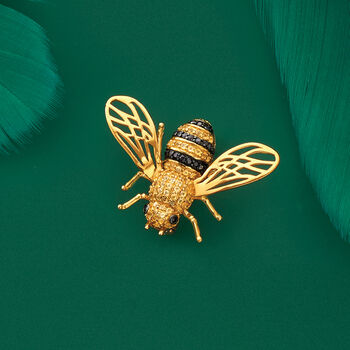 1.30 ct. t.w. Citrine and .40 ct. t.w. Black Spinel Bee Pin in 18kt Gold Over Sterling, , default