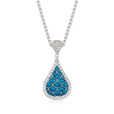 "Belle Etoile ""Marina"" Sea-Blue Enamel and 1.00 ct. t.w. CZ Pendant in Sterling Silver, , default"