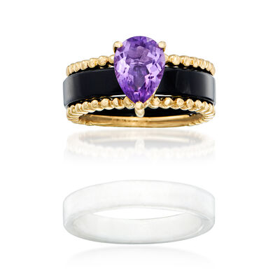 Black and White Agate and 1.60 Carat Amethyst Interchangeable Ring Set in 14kt Yellow Gold