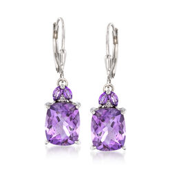 6.95 ct. t.w. Amethyst Drop Earrings in Sterling Silver, , default