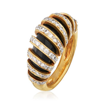 C. 1980 Vintage Black Onyx and 1.02 ct. t.w. Diamond Section Ring in 18kt Yellow Gold. Size 6