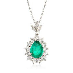 C. 1990 Vintage 2.31 Carat Emerald and 1.36 ct. t.w. Diamond Pear-Shaped Pendant Necklace in Platinum, , default