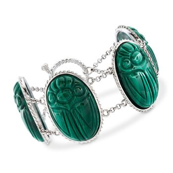 "Malachite Large Scarab Station Toggle Bracelet in Sterling Silver. 7"", , default"