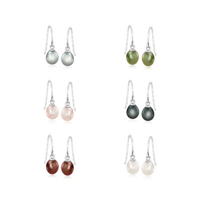 6-6.5mm Multicolored Cultured Pearl Jewelry Set: Six Pairs of Earrings in Sterling Silver