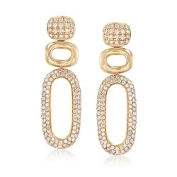 1.54 ct. t.w. Pave Diamond Open Geometric Drop Earrings in 14kt Yellow Gold, , default