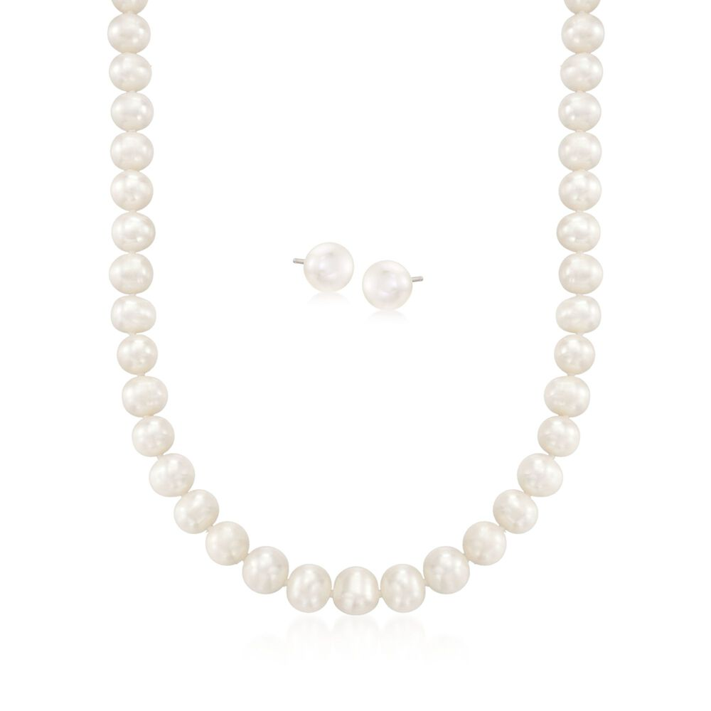 9 10mm Cultured Pearl Necklace With Free Earrings 18 Default
