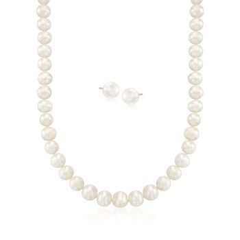 """9-10mm Cultured Pearl  Necklace With Free Earrings. 18"""", , default"""