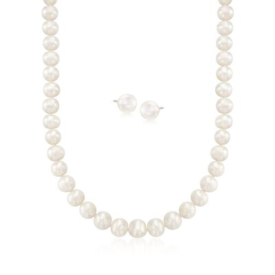 9-10mm Cultured Pearl Necklace With Free Earrings, , default