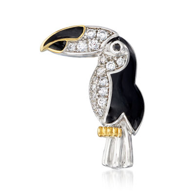 .37 ct. t.w. CZ and Black Enamel Toucan Pin/Pendant in Two-Tone Sterling Silver, , default