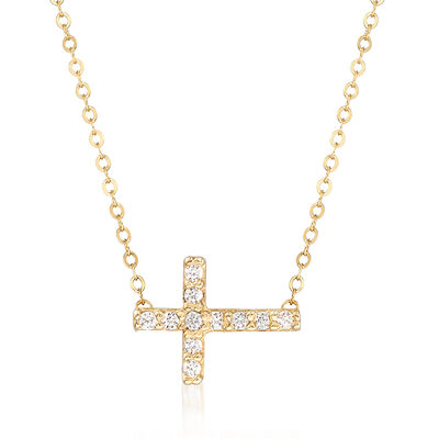Italian Sideways Cross Pendant Necklace with CZ Accents in 14kt Yellow Gold, , default