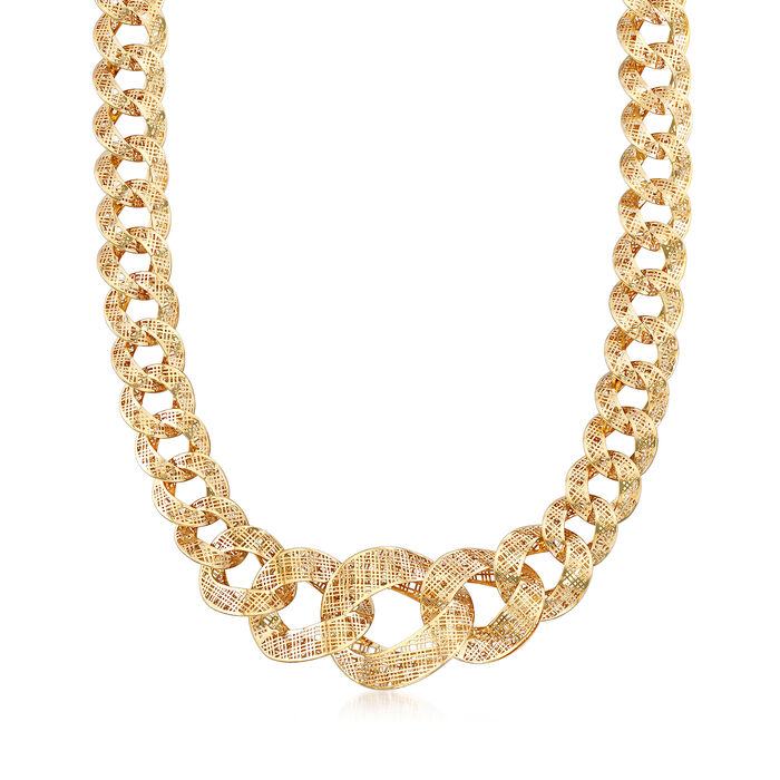 "Italian 14kt Yellow Gold Tartan Cut-Out Link Necklace. 18.5"", , default"