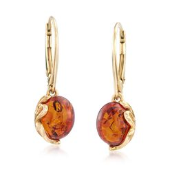 Round Amber Drop Earrings in 18kt Gold Over Sterling, , default