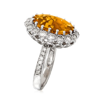 C. 1990 Vintage 5.35 Carat Citrine and 1.05 ct. t.w. Diamond Ring in 14kt White Gold. Size 5.5, , default