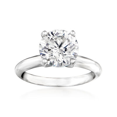 2.55 Carat Certified Diamond Solitaire Engagement Ring in Platinum