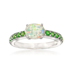 Ethiopian Opal and .50 ct. t.w. Diopside Ring in Sterling Silver, , default