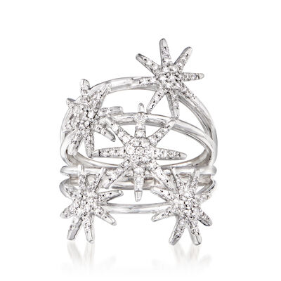 .50 ct. t.w. Diamond Multi-Row Star Ring in 14kt White Gold