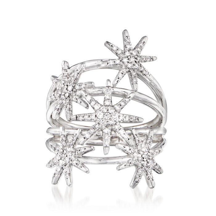 .50 ct. t.w. Diamond Multi-Row Star Ring in 14kt White Gold