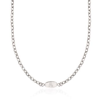 Italian Sterling Silver Personalized ID Necklace, , default