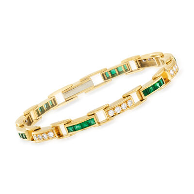 C. 1980 Vintage 2.90 ct. t.w. Emerald and 1.20 ct. t.w. Diamond Line Bracelet in 18kt Yellow Gold, , default