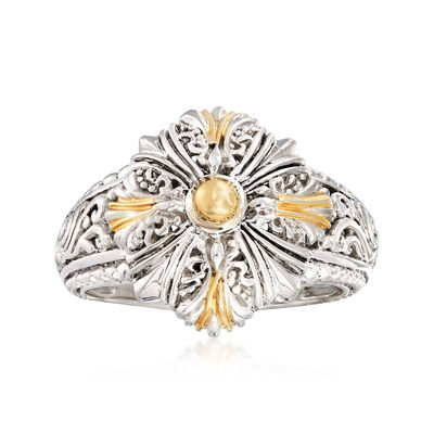 Sterling Silver with 18kt Yellow Gold Filigree Ring, , default