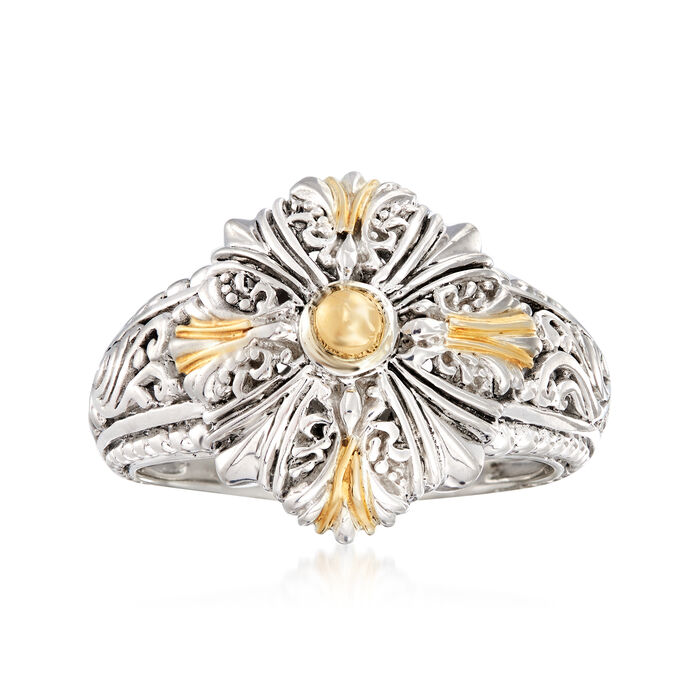 Sterling Silver with 18kt Yellow Gold Filigree Ring