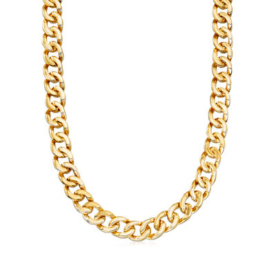 Italian 18kt Yellow Gold Round-Link Necklace, , default