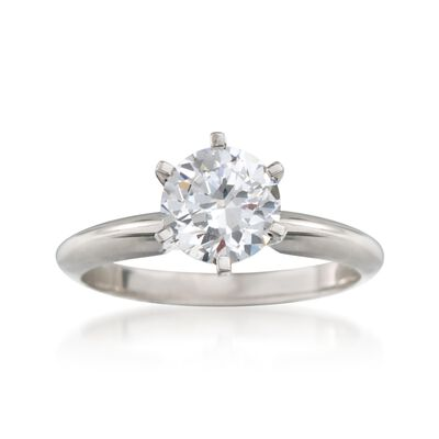 Platinum Six-Prong Engagement Ring Setting, , default