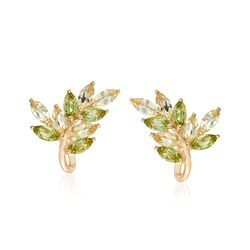 1.80 ct. t.w. Peridot and 1.90 ct. t.w. Lemon Quartz Earrings in 18kt Gold Over Sterling , , default