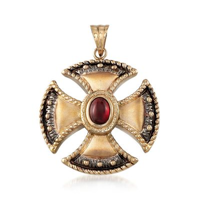 1.30 Carat Garnet Cross Pendant in 14kt Yellow Gold, , default