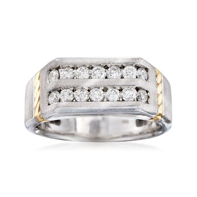 Men's .75 ct. t.w. Channel-Set Diamond Ring in 14kt Two-Tone Gold, , default