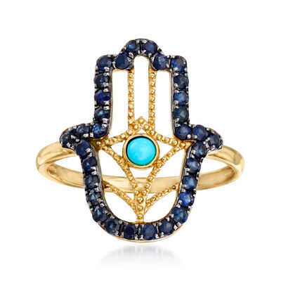 Stabilized Turquoise and .60 ct. t.w. Sapphire Hamsa Hand Ring in 14kt Yellow Gold