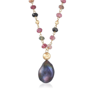 12-13mm Black Cultured Baroque Pearl and 25.00 ct. t.w. Multicolored Tourmaline Beaded Necklace with 14kt Yellow Gold, , default