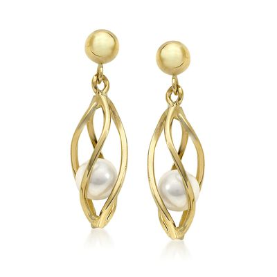 4mm Cultured Pearl Cage Earrings in 14kt Yellow Gold, , default
