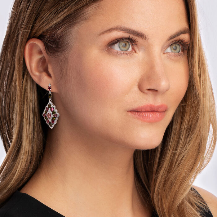 7.30 ct. t.w. Pink and Green Tourmaline and .90 ct. t.w. White Topaz Drop Earrings in Sterling Silver