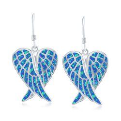 Blue Synthetic Opal Angel Wings Drop Earrings in Sterling Silver, , default