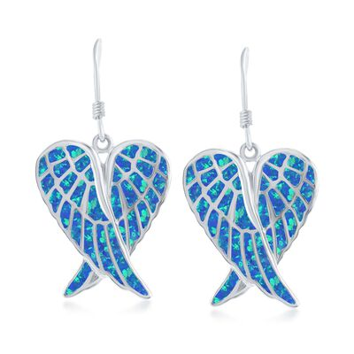 Blue Synthetic Opal Angel Wings Drop Earrings in Sterling Silver, , default